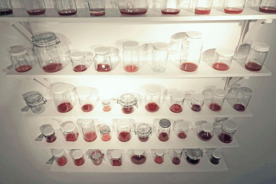 Jam Jar Project<i> 2017-2018</i> Installation of glass jars and menstrual blood