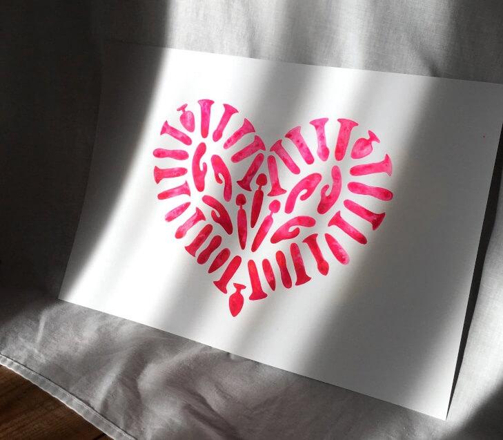 Heart Of Pleasure, 2021, Gouache and Acrylic on card